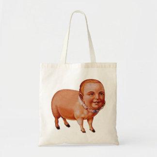 Cerdo del cerdo del kitsch del vintage el monstruo bolsa tela barata
