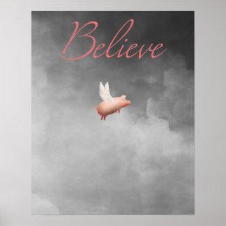 cerdo del creer-vuelo póster