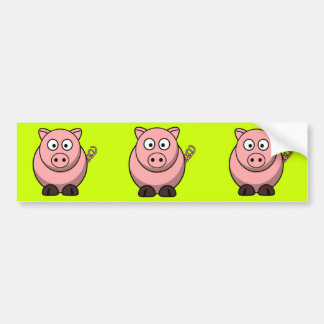 Cerdo del dibujo animado etiqueta de parachoque