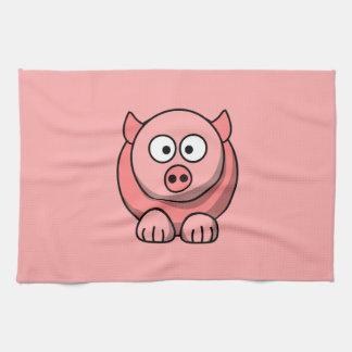 Cerdo del dibujo animado con el fondo rosado toalla de mano