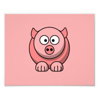 Cerdo del dibujo animado con el fondo rosado impresiones fotográficas