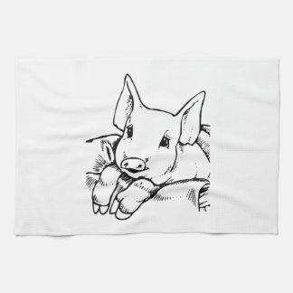 Cerdo del dibujo animado toalla de cocina