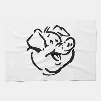 Cerdo del dibujo animado toallas de cocina