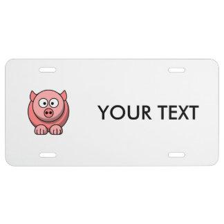 Cerdo del dibujo animado placa de matrícula