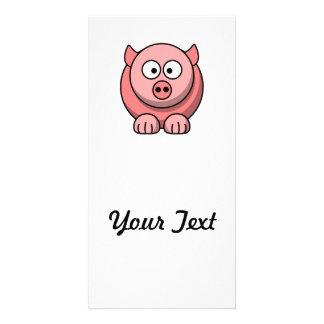 Cerdo del dibujo animado plantilla para tarjeta de foto