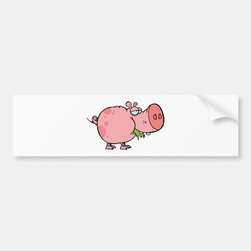 Cerdo del dibujo animado que mastica la hierba pegatina para auto