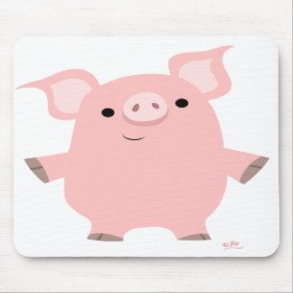 Cerdo del dibujo animado que se levanta el mousepa tapete de raton
