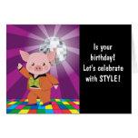 cerdo del disco en la sala de baile felicitacion
