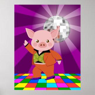 Cerdo del disco en la sala de baile póster