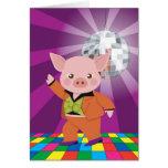 cerdo del disco en la sala de baile tarjetas