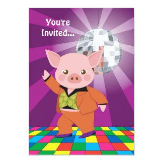 """Cerdo del disco invitación 5"""" x 7"""""""