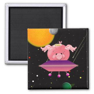 Cerdo del espacio imán cuadrado