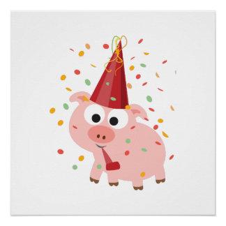 Cerdo del fiesta del confeti perfect poster