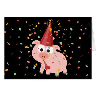 Cerdo del fiesta del confeti tarjeta pequeña