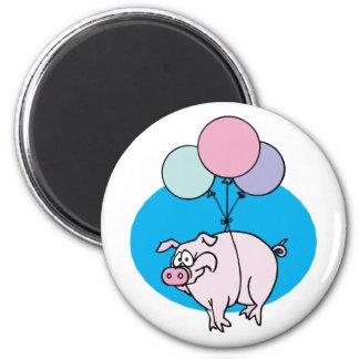 Cerdo del fiesta que vuela imán redondo 5 cm