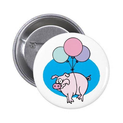 Cerdo del fiesta que vuela pin redondo de 2 pulgadas