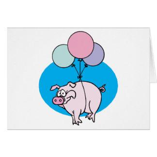 Cerdo del fiesta que vuela tarjeta de felicitación