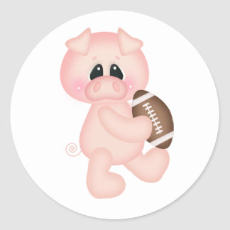Cerdo del fútbol pegatina redonda