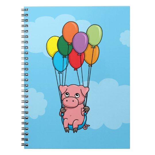 Cerdo del globo del vuelo cuaderno