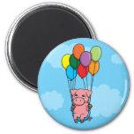 Cerdo del globo del vuelo imán de nevera