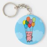 Cerdo del globo del vuelo llavero personalizado