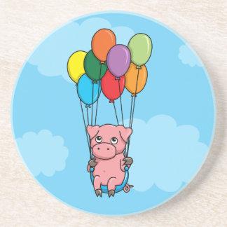 Cerdo del globo del vuelo posavasos personalizados