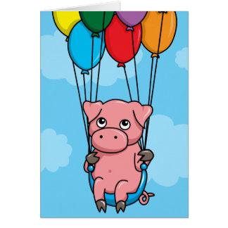 Cerdo del globo del vuelo felicitaciones