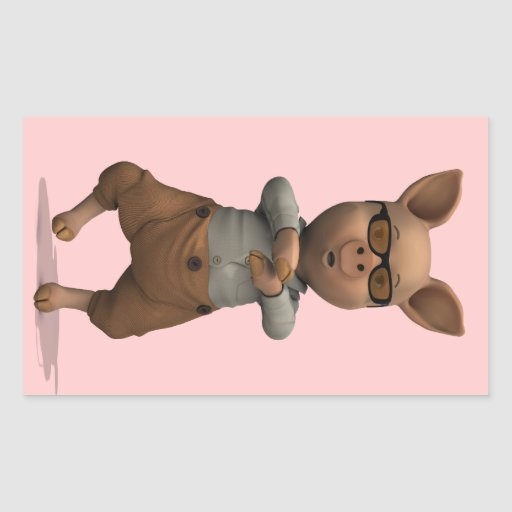 Cerdo del golpeador pegatina rectangular