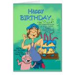 Cerdo del hillbillie n del cumpleaños con la canci felicitaciones