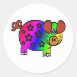 Cerdo del hippy pegatina redonda