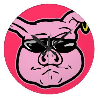 Cerdo del motorista reloj redondo grande
