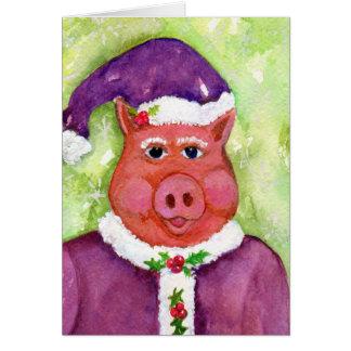 Cerdo del navidad del padre en TARJETA púrpura del