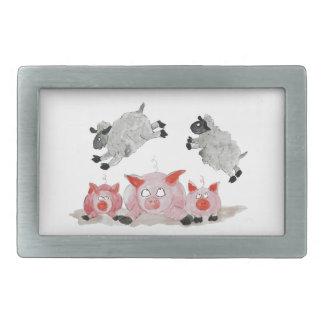 Cerdo del salto por las ovejas de Suffolk Hebillas Cinturon Rectangulares