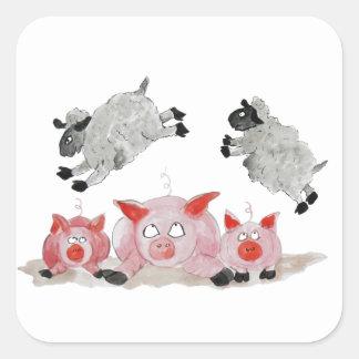 Cerdo del salto por las ovejas de Suffolk Pegatina Cuadrada