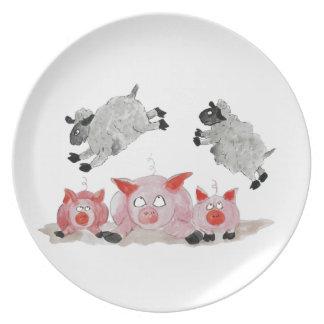 Cerdo del salto por las ovejas de Suffolk Plato Para Fiesta