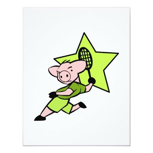 Cerdo del tenis invitación 10,8 x 13,9 cm