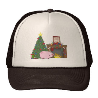 Cerdo del tiempo del navidad gorro de camionero