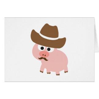 Cerdo del vaquero tarjeton
