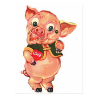 cerdo del vintage de los años 40 tarjeta postal