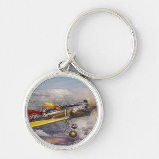 Cerdo del vuelo - avión - el paseo de la alegría llavero redondo plateado