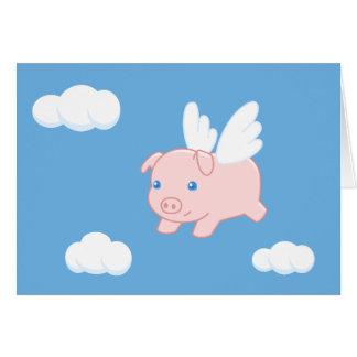 Cerdo del vuelo - cochinillo lindo con las alas tarjeta de felicitación