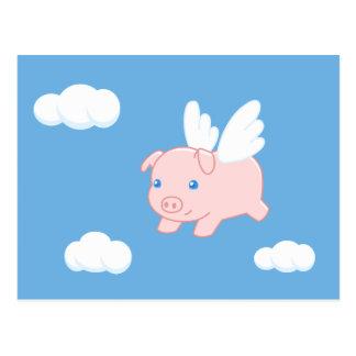 Cerdo del vuelo - cochinillo lindo con las alas tarjeta postal