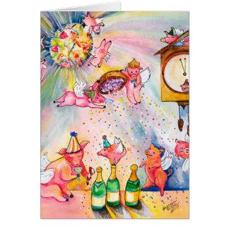 Cerdo del vuelo de la tarjeta de la Feliz Año