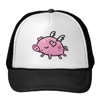 Cerdo del vuelo del dibujo animado gorro