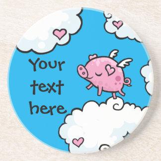 Cerdo del vuelo en personalizado de la plantilla d posavasos diseño