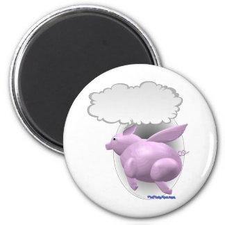Cerdo del vuelo que habla imán redondo 5 cm