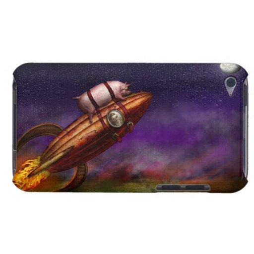 Cerdo del vuelo - Rocket - a la luna o al busto iPod Case-Mate Cárcasa