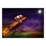 Cerdo del vuelo - Rocket - a la luna o al busto Invitación Personalizada