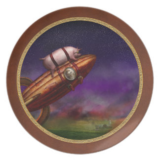 Cerdo del vuelo - Rocket - a la luna o al busto Plato Para Fiesta