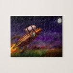 Cerdo del vuelo - Rocket - a la luna o al busto Puzzles Con Fotos